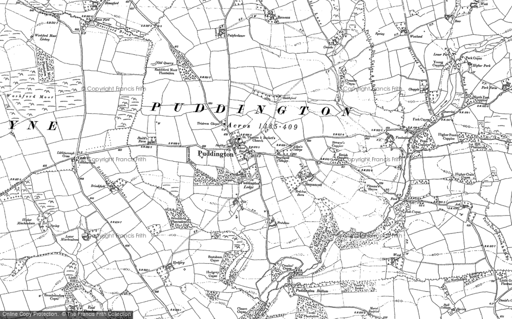 Old Map of Historic Map covering Bamson in 1887