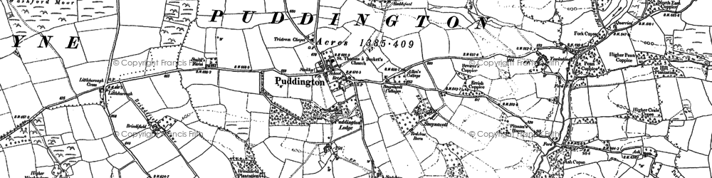 Old map of Yowlestone Ho in 1887