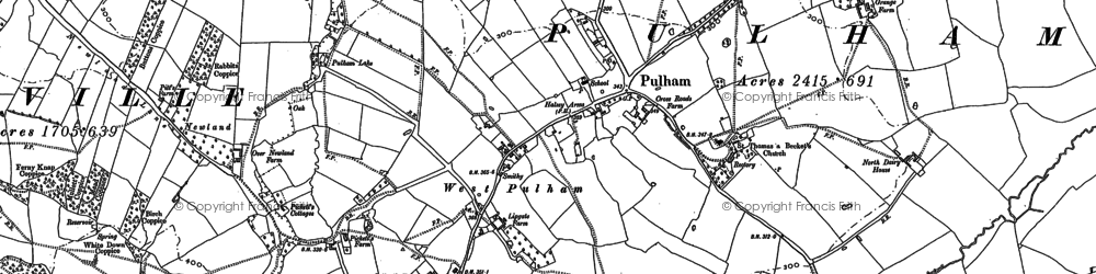 Old map of West Pulham in 1886