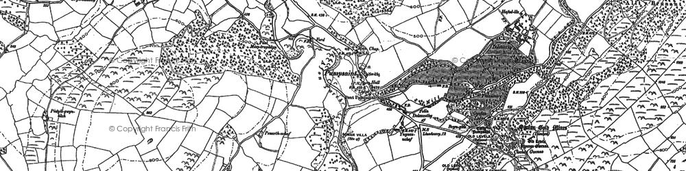 Old map of Aber-Mangoed in 1885