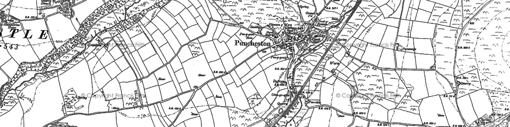 Old map of Puncheston in 1888