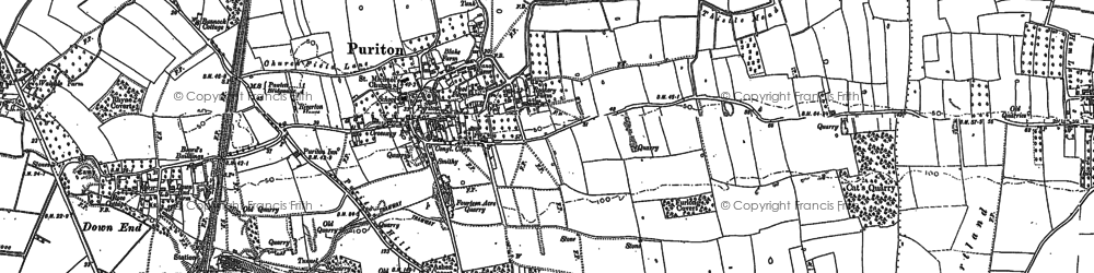 Old map of Puriton in 1886