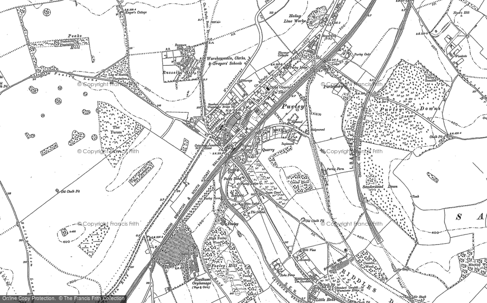 Old Map of Historic Map covering Woodcote in 1895