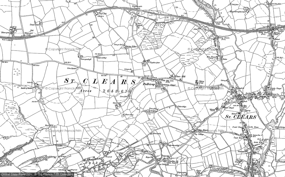 Old Map of Historic Map covering Backe in 1886