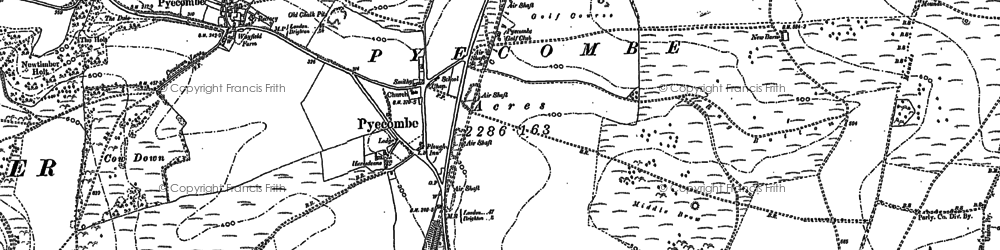 Old map of Pyecombe in 1896