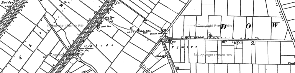 Old map of Pymore in 1886