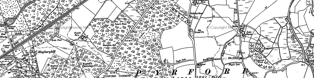 Old map of Pyrford in 1895