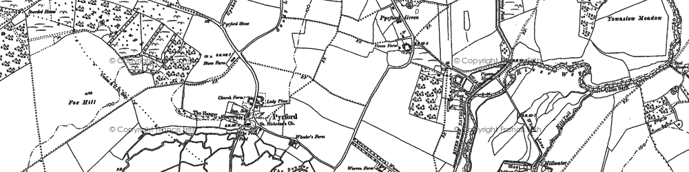 Old map of Newark Priory in 1895
