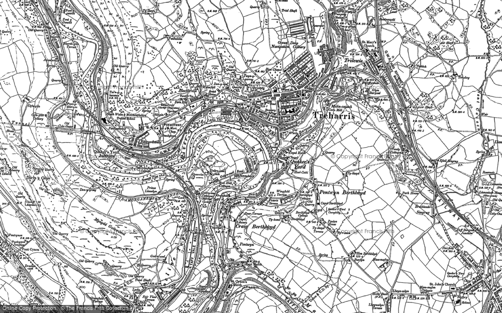 Old Map of Quaker's Yard, 1898 in 1898