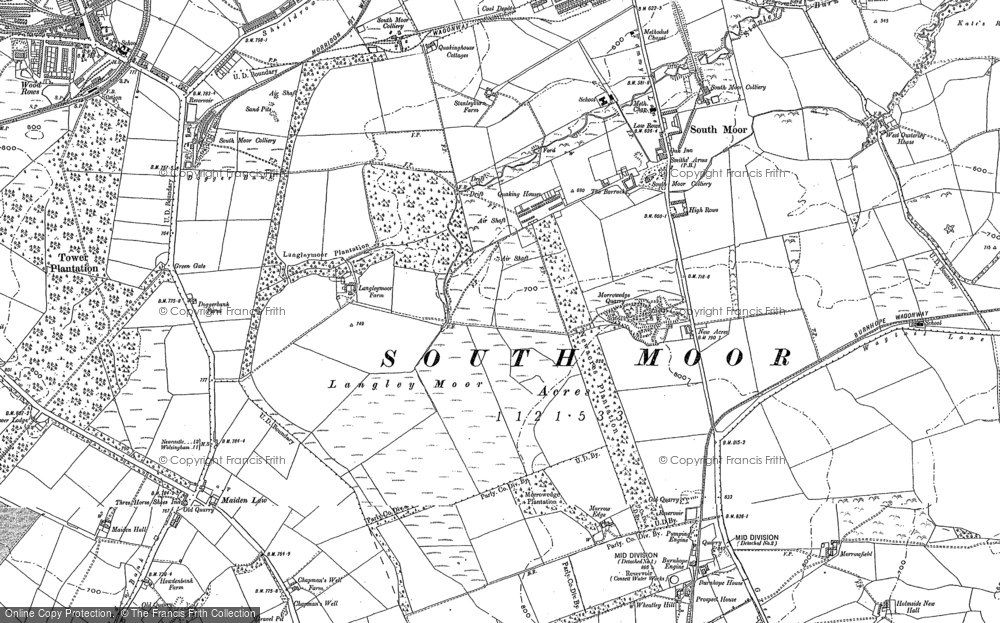 Old Map of Historic Map covering Langley Moor in 1895