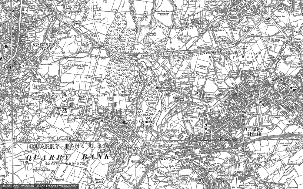 Old Map of Quarry Bank, 1901 in 1901
