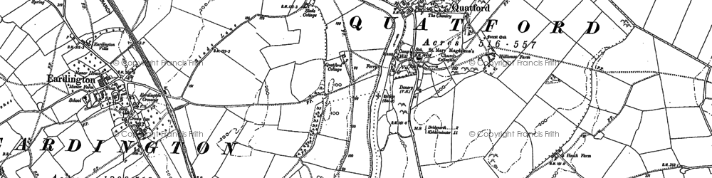 Old map of Quatford in 1882