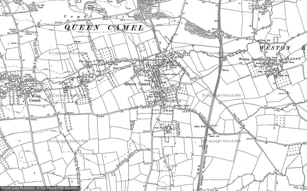 Old Map of Queen Camel, 1885 in 1885