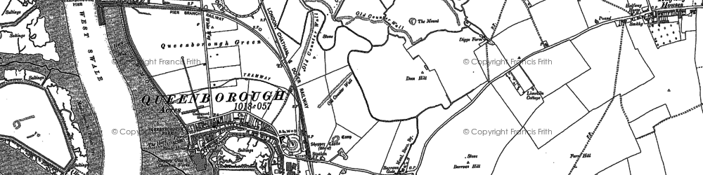 Old map of Queenborough in 1896