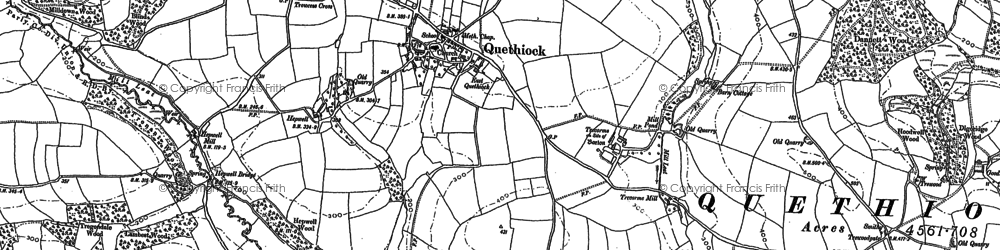Old map of Quethiock in 1882