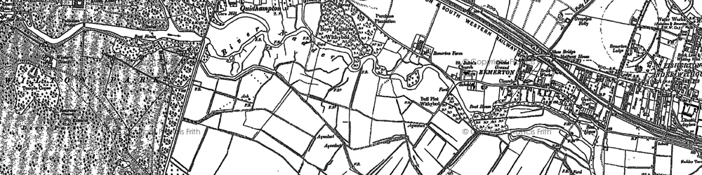 Old map of Fugglestone St Peter in 1900