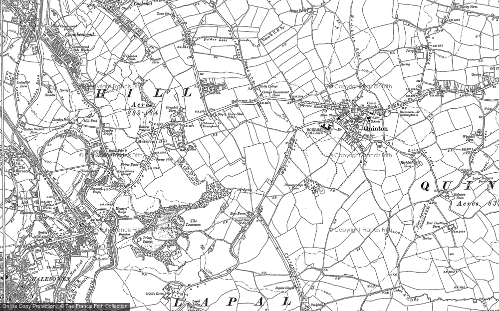 Old Map of Historic Map covering Lapal in 1882