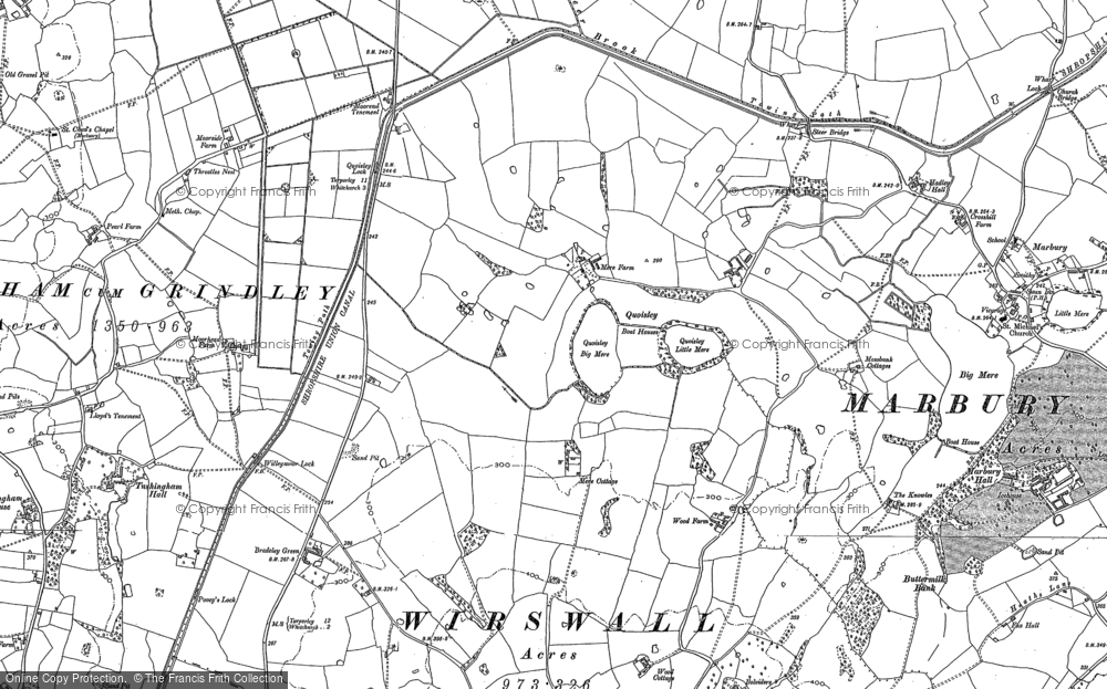 Old Map of Historic Map covering Bar Mere in 1897