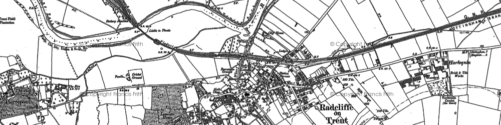 Old map of Radcliffe on Trent in 1883