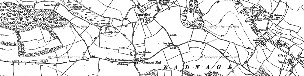 Old map of Town End in 1897