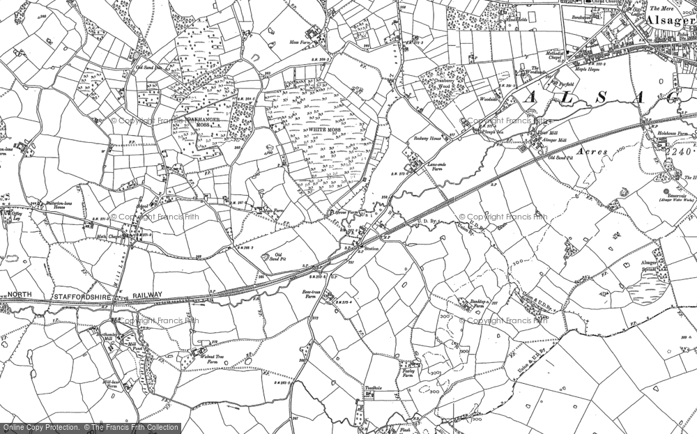 Old Map of Historic Map covering Bank Top in 1908
