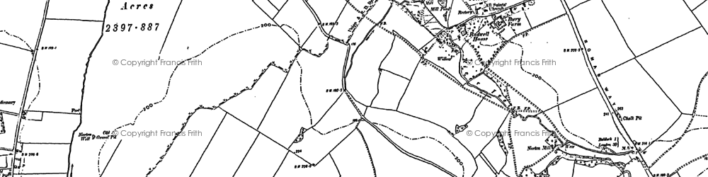 Old map of Radwell in 1900