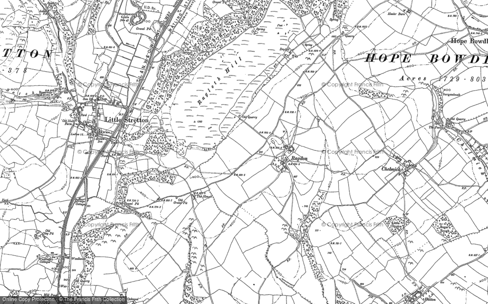 Old Map of Ragdon, 1882 in 1882
