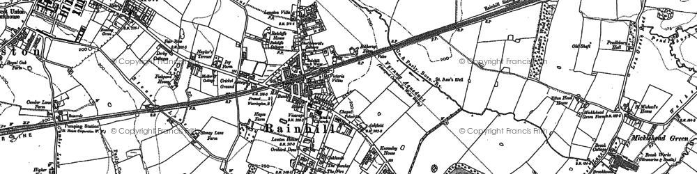 Old map of Rainhill in 1891