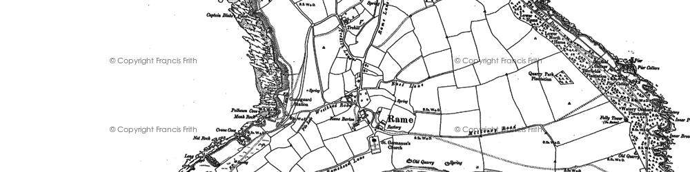 Old map of Rame in 1886