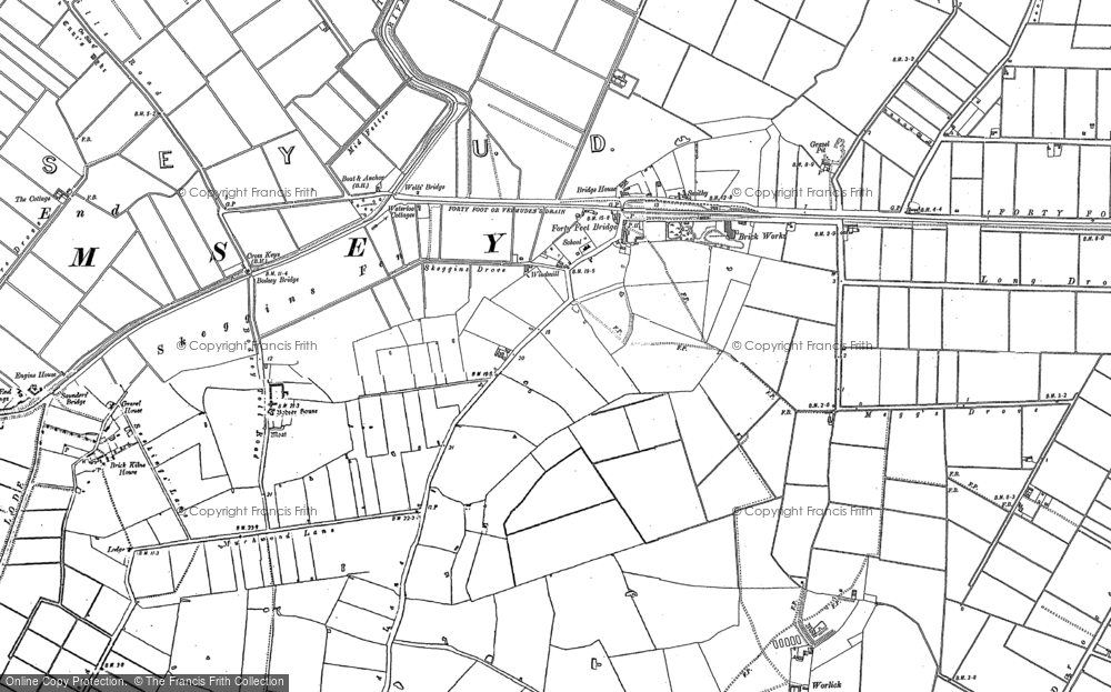 Old Map of Historic Map covering Ash Drain in 1887