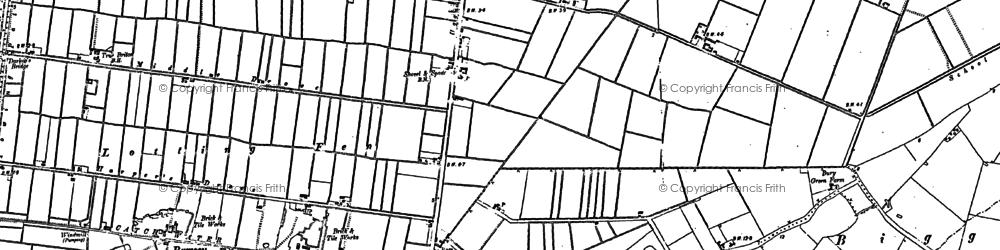 Old map of Woodwalton Fen in 1887