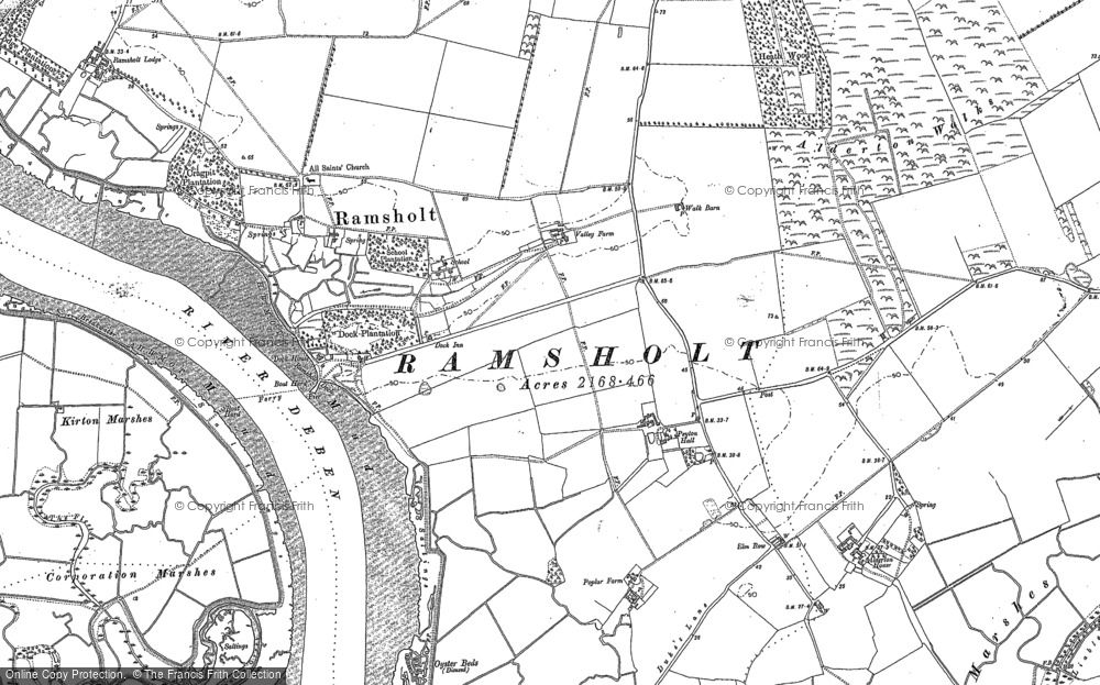 Old Map of Historic Map covering Alderton Walks in 1881