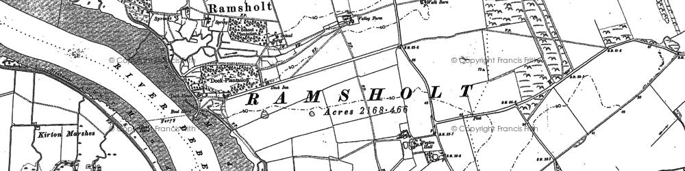 Old map of Alderton Walks in 1881
