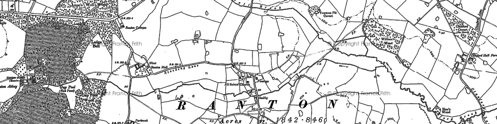 Old map of Anne's Well Wood in 1880