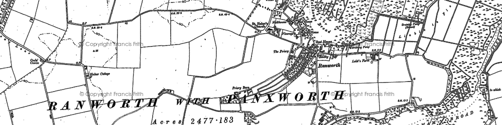 Old map of Ranworth in 1881