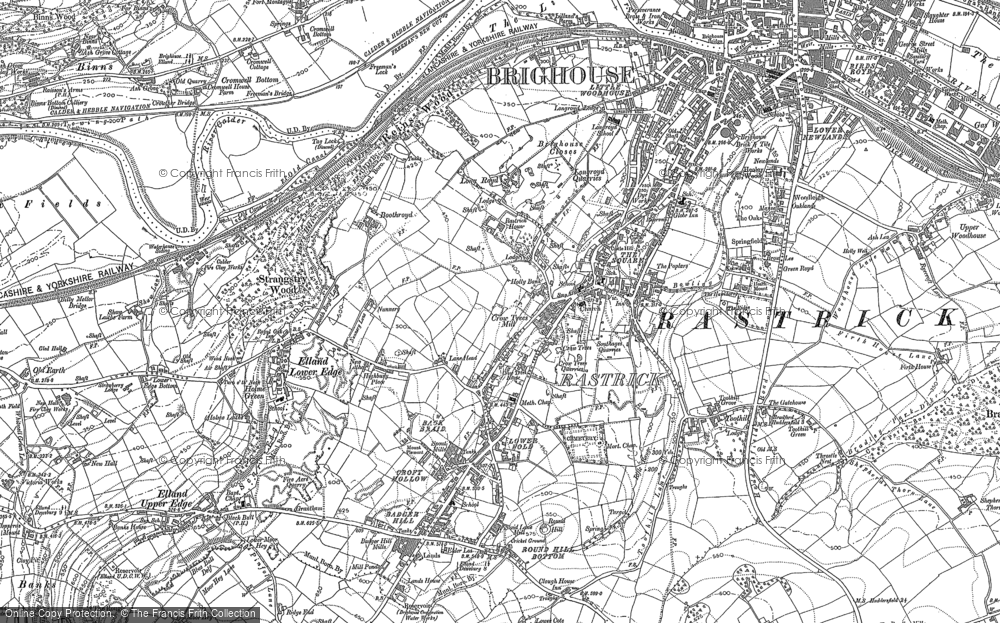 Old Map of Historic Map covering Toothill in 1892