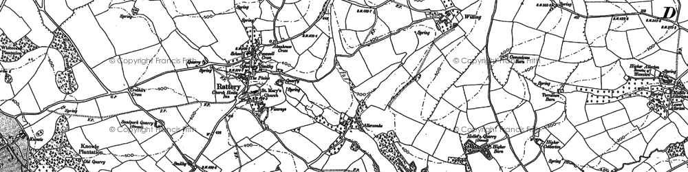 Old map of White-oxen Manor in 1886