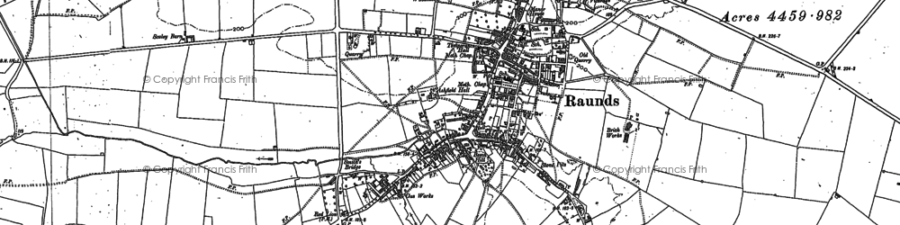 Old map of Raunds in 1884