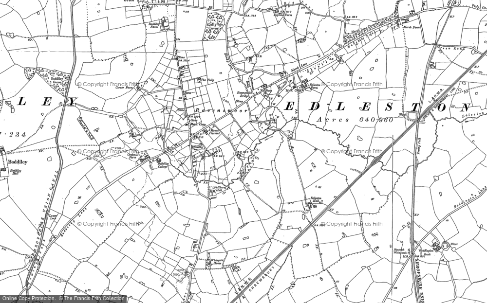 Old Map of Historic Map covering Baddiley Hall in 1897