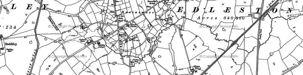 Old map of Baddiley Hulse in 1897