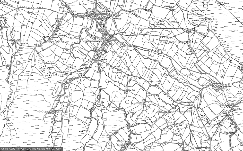 Old Map of Historic Map covering Ash Fell in 1897