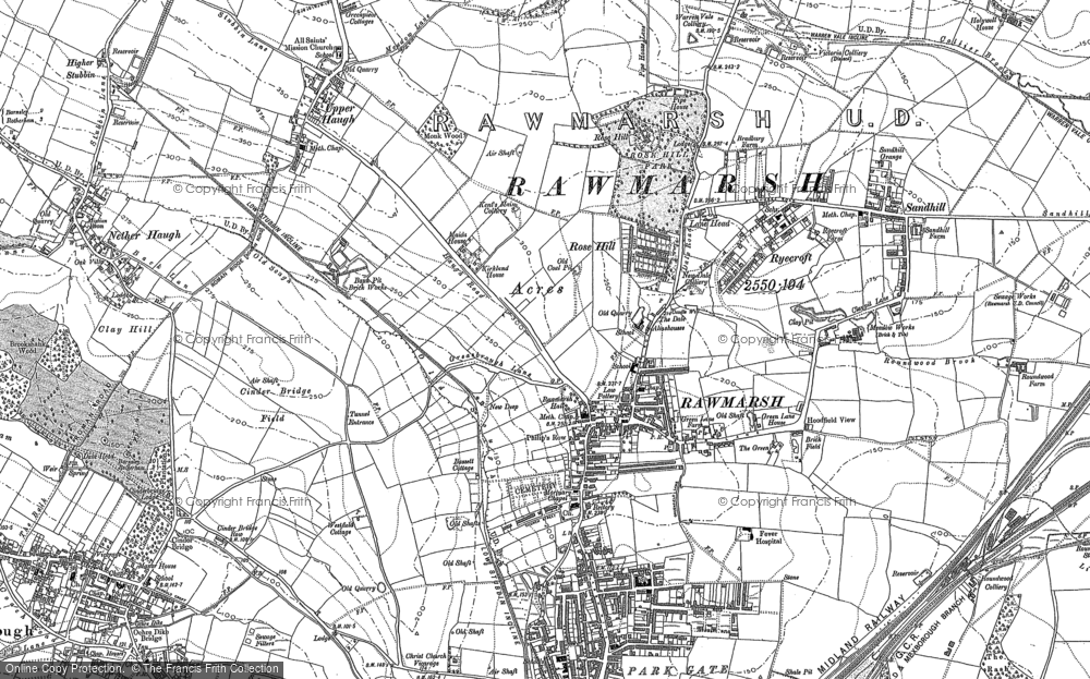 Old Map of Rawmarsh, 1890 in 1890