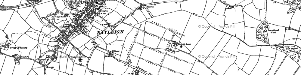 Old map of Rayleigh in 1895