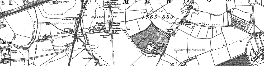 Old map of Raynes Park in 1894