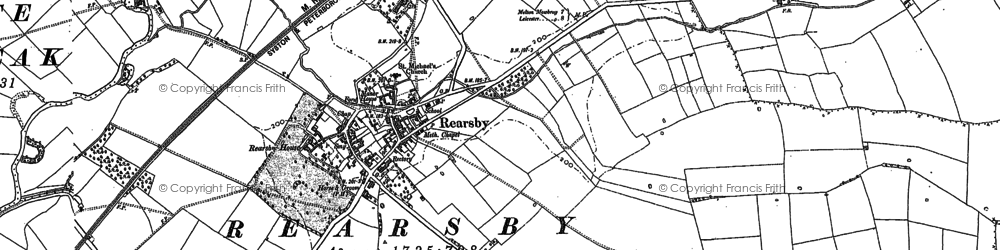 Old map of Rearsby in 1883