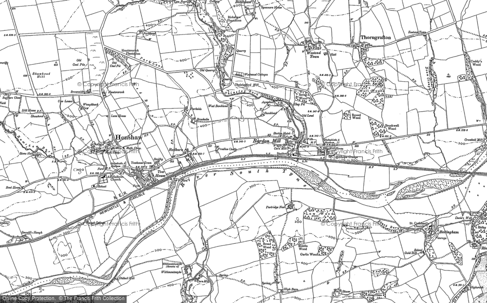 Old Map of Historic Map covering Bankhead in 1895