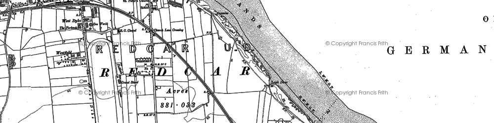 Old map of Redcar in 1913