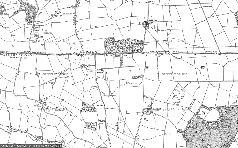 Old Map of Historic Map covering Woodgreen in 1881