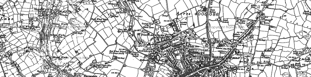 Old map of Redruth in 1878
