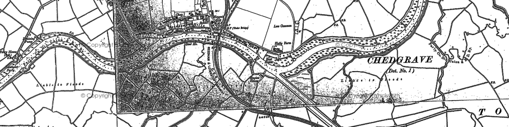 Old map of Reedham in 1884